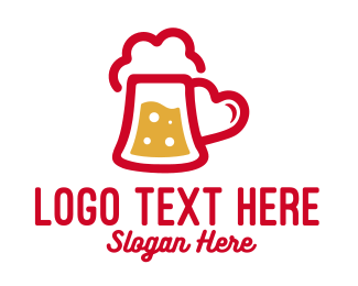 Bourbon - Beer Drink Love Heart logo design