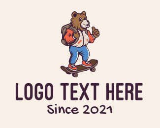 Pro Skater - Skater Bear Mascot logo design