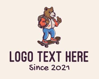 Skater - Skater Bear Mascot logo design