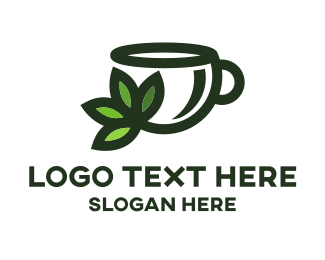 Tagline - Green Tea Cup logo design