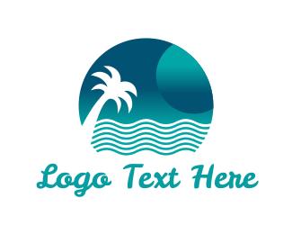 Hawaii - Ocean & Palm logo design