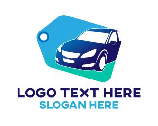 Sedan - Blue Car Tag logo design