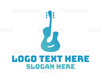 Blues - Blue Guitar Note logo design