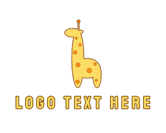 Room - Cute Yellow Giraffe logo design