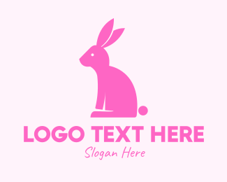 Pink Rabbit - Pink Bunny Rabbit logo design