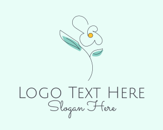Delicate - Delicate Flower Outline logo design