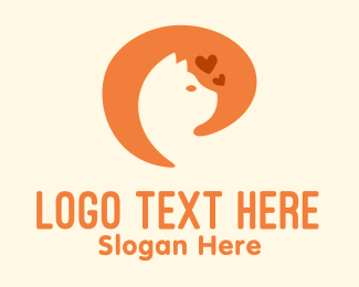Cat Silhouette - Orange Cat Pet Care logo design