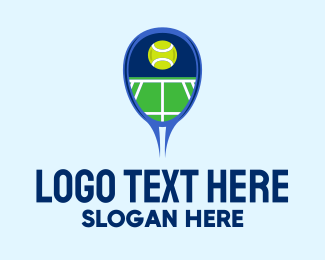 Court - Tennis Ball Racket Court  logo design