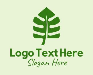 Monstera Deliciosa - Plant Leaf House  logo design