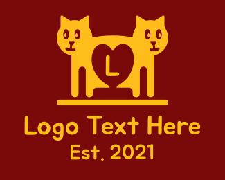 Cats - Twin Cat Letter logo design