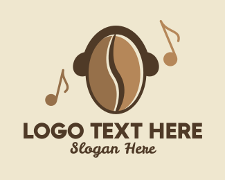 Music Cafe - Coffee Bean Cafe Music logo design