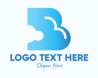 Storm - Blue Cloud Letter B logo design