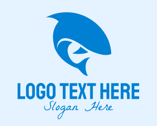 Blue Fish - Blue Shark Fish logo design