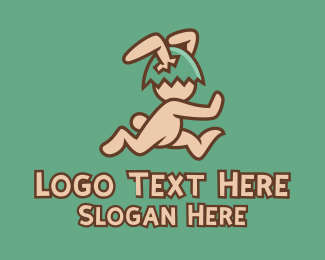Sea Lion - Running Easter Rabbit  logo design
