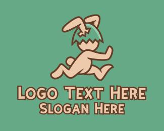 Running - Running Easter Rabbit logo design