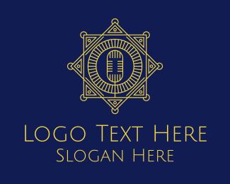 Microphone - Gold Vintage Microphone logo design