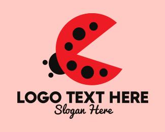 Kiddie - Lady Bug Pac-Man logo design