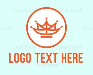 Monarchy - Leaf Crown Outline logo design