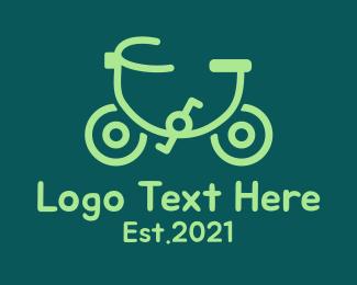 Pedalling - Monoline Eco Bicycle  logo design
