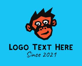 Ape - Cute Monkey Sketch logo design