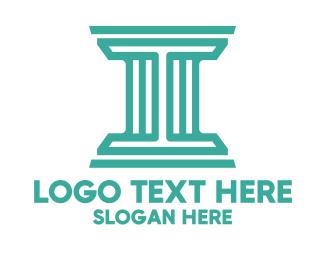 University - Letter I Pillar Outline logo design