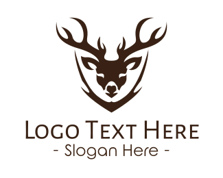 Gazelle - Deer Head Mount logo design