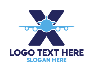 Commercial Plane - Blue X Airplane logo design