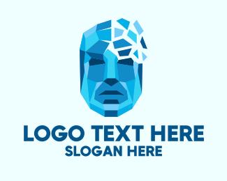 Artificial Intelligence - Geometric Human Tech Face logo design