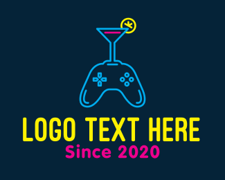 Beach Party - Neon Cocktail Game Console logo design