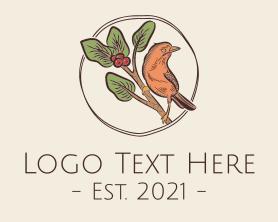 Handmade - Wild Bird Berry Branch logo design