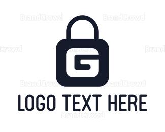 Encrypted - Blue G Padlock logo design