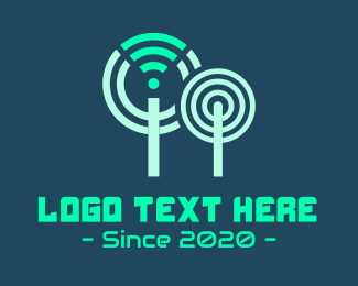 Hotspot - Wifi Technology Tree logo design