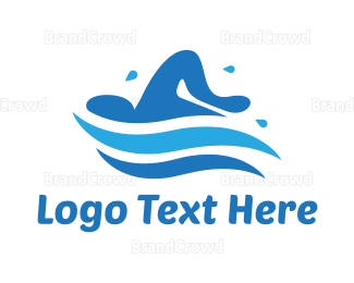 Pool - Blue Person Swimming logo design