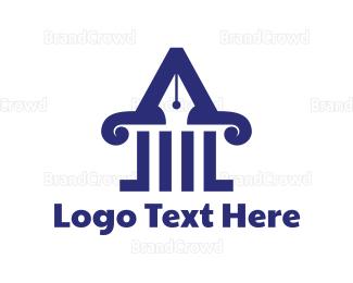 Law - Law Pillar Pen logo design