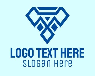Jewelry Maker - Blue Diamond Letter T logo design