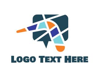 Messenger - Mosaic Boomerang Chat logo design