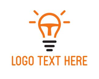 Light Bulb - Orange Light Bulb logo design