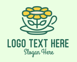 Tea Cup - Sunflower Tea Cup logo design