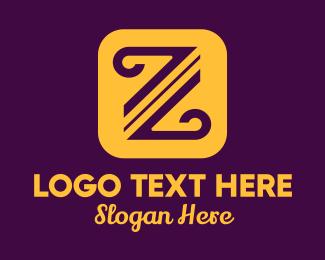 Calligraphy Pen - Curved Letter Z logo design