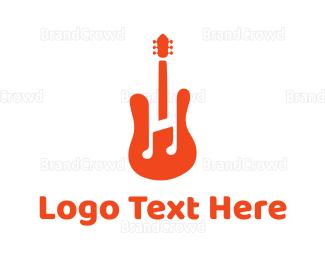 Musician - Red Guitar Note logo design