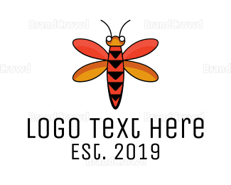 Pest - Dragonfly Arrow Outline logo design