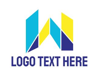 Shattered - Mosaic Modern W logo design