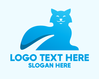 Blue Kitten - Blue Gradient Cat logo design