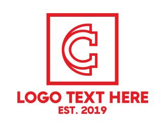 Polo - Red C Outline logo design