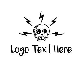Lightning Bolt - Electric Skull logo design