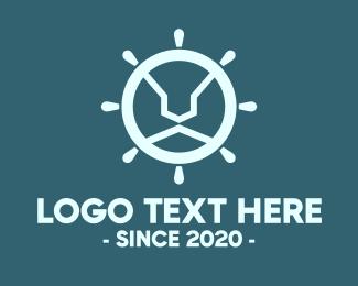 Sea Transport - Blue Lion Steering Wheel logo design