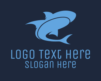 Shark - Blue Shark  logo design