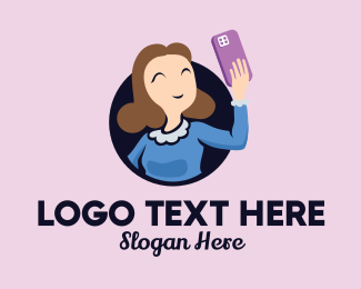 Techy - Smiling Selfie Lady  logo design