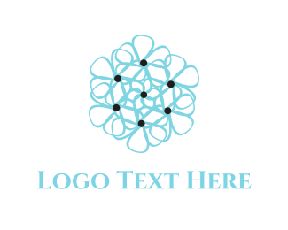 Bouquet - Blue Flower logo design