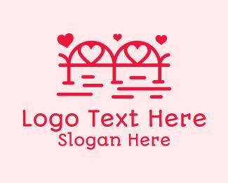 Hearts - Red Love Bridge logo design